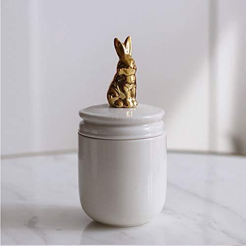 MAJYH Haustier Urnen Haustier Feuerbestattung Urne handgemachte Keramik Memorial Urne for Kaninchen kleine Vögel kleine Hunde Asche (weiß (Color : Rabbit)