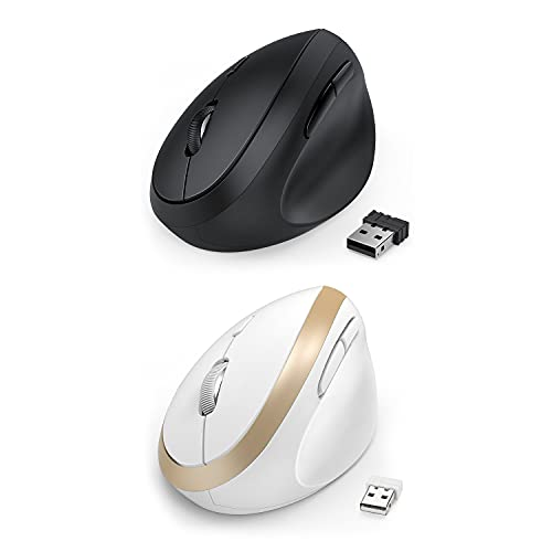 Jelly Comb Wireless Vertical Mouse 2 Pack - Black and White God