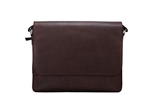 Ladderback Leather Messenger Bag for Men and Women, Oliver, fits 13-14 inch Laptops,...