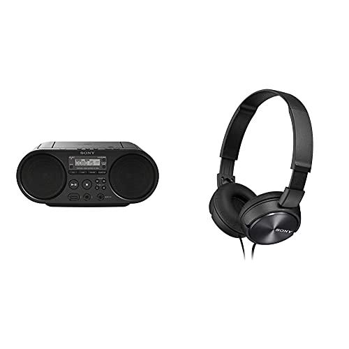Sony ZSP-S50 CD/USB Radiorekorder (AM/FM) & MDR-ZX310W Lifestyle Kopfhörer, Schwarz