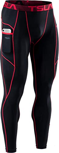 Tesla Men's Compression Pants, Sports Pants, Tights, UV Protection, Sweat Absorbent, Quick Drying, Compression Wear, Running Wear, Sports, Long Pants - sports Side Pockets (MUP49) - Black/Red