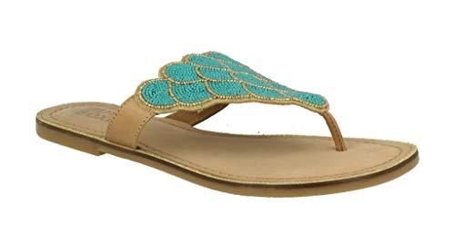 Bullboxer Damskie sandały 286014I1L, damskie sandały z rzemykami, buty letnie, płaskie, - Emer - 36 EU