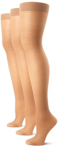 Hanes Silk Reflections Women's Alive 3 Pair Multi Pack Full Support Control Top Pantyhose, Barely There, E