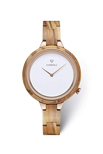 KERBHOLZ Holzuhr – Classics Collection Hinze analoge Quarz Uhr für Damen, Gehäuse...
