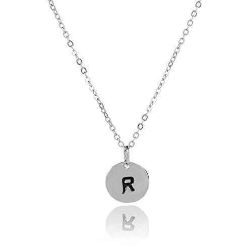 JGONas - Collar con colgante de letra inicial simple, colgante redondo, regalo para mujer, paquete de regalo W.None plata