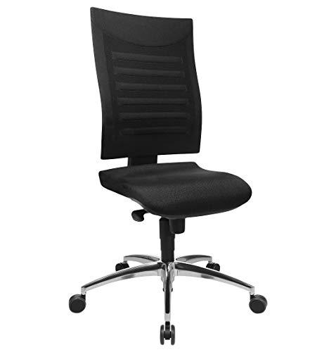 SCHÄFER SHOP Bürostuhl SSI PROLINE S2, Synchronmechanik, ohne Armlehnen, 3D-Netz-Rückenlehne, Bandscheibensitz, höhenverstellbar, schwarz/schwarz