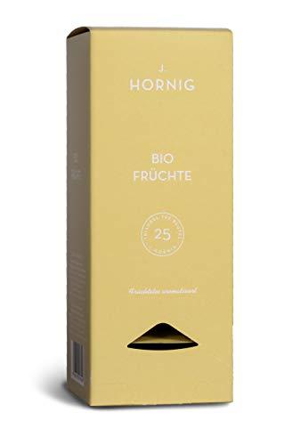 J. Hornig Bio Früchtetee, Tee im biologisch abbaubaren Pyramidenbeutel, 25 Tee-Sachets, fruchtig süßer Tee mit Birne und Hagebutte