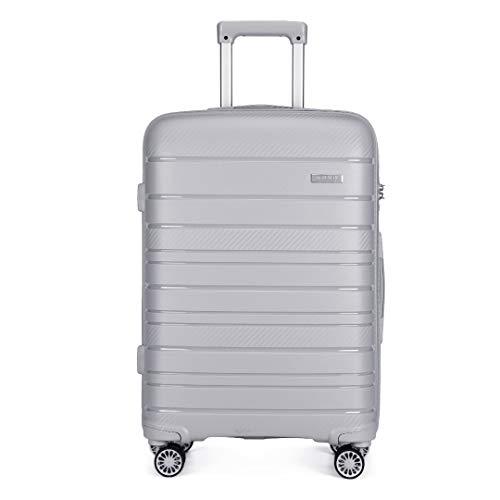 Kono Lightweight Polypropylene Large Check in Luggage with Spinner Wheels TSA Lock YKK Zipper Hard Shell Travel Trolley Suitcase (Grey,76cm 100L)
