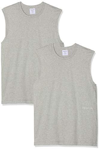 Tommy Hilfiger Muscle Tank 2PK (Unisex) Camiseta, Gris (Grey Heather 080), L para Hombre