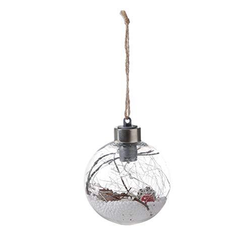 BESTOYARD LED-Weihnachtslichtkugel Lichterketten Batteriebetriebene Hängelampen mit Jute-Seil Globale LED-Hängelampe für Christbaumschmuck (Stil A)