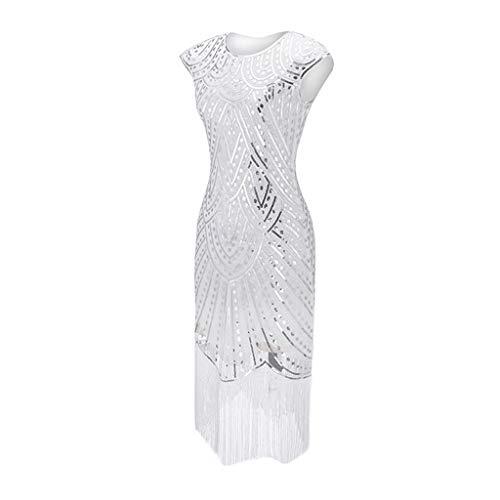 Binggong Retro 20er Jahre Kleid Damen ELegant Paillettenkleid Ärmellos RundhalsKnielang Partykleid Flapper Frauen Kostüm Kleider Ballkleid