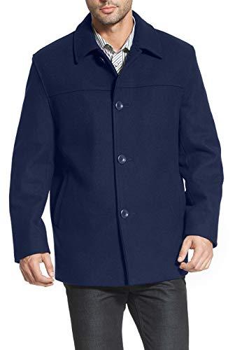 chouyatou Men's Thick Single Breasted Fleece Lined Wool Coat Winter Dress Jacket (Large, Brown)