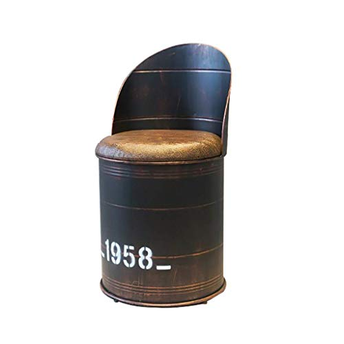 FENPING-Barstühle Vintage Barhocker, Barhocker, Ölfass-Tische Und Stühle, Eisen Vintage-Aufbewahrungshocker Retro-Industrie-Stil-Cafe-Freizeit-Öl-Trommel-Kombination Lounge Stuhl (Color : Bar Chair)