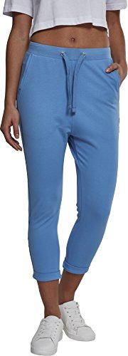 Urban Classics Damen Ladies Open Edge Terry Turn Up Pants Sporthose, Blau (Horizonblue 01301), 38 (Herstellergröße: M)