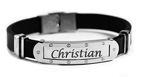 Pulsera con nombre de Christian – Pulsera personalizada de silicona y tono plateado para hombre – Regalo para hombre – Cumpleaños