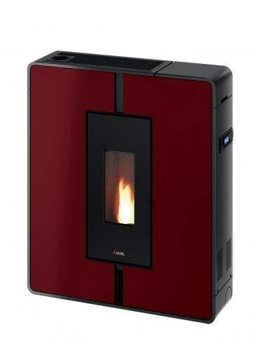 CADEL Tile Plus Pelletofen 10 kW Pellet Ofen Kamin Auswahl-Tile-Plus Metall-Rot