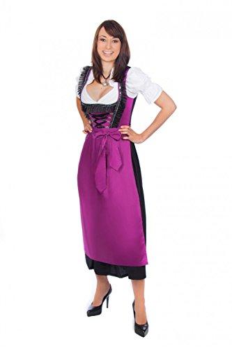Midi Dirndl 3-teilig violett schwarz mit passender Bluse und Schürze  , Violett , 52