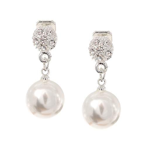 Idin - Orecchini a goccia rotondi con perle finte e cristalli, colore: bianco