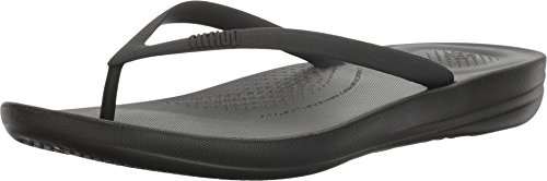 FitFlop Women's IQUSHION FLIP Flop-Solid, All All Black, 9 M US