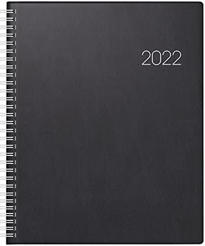 BRUNNEN 1076101902 Buchkalender Manager Wt 7 - weektimer, 2 Seiten = 1 Woche, 21 x 26 cm, Kunststoff-Einband schwarz, Kalendarium 2022, Wire-O-Bindung