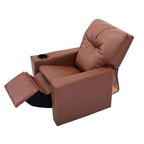 Kids Recliner with Cup Holder Brown Leather Sofa Chair