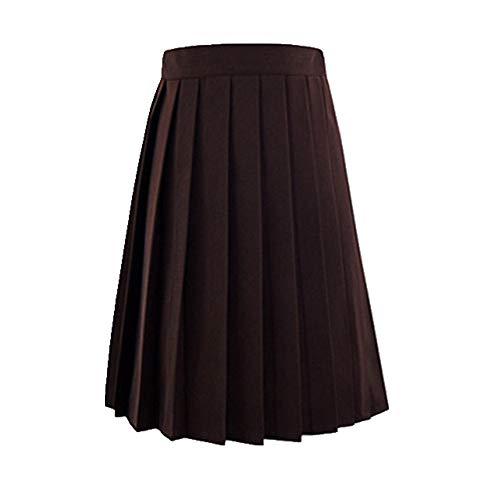 U/A Mujeres De Verano De Cintura Alta Plisado Falda De Cuadros Femenino Anime Faldas Cortas Marrón marrón XXXXL