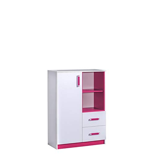 Furniture24 Kommode TRAFIKO 06 mit 2 Schubladen und Tür, Highboard, Sideboard, Mehrzweckschrank für Jugend und Kinderzimmer (Weiß/Rosa)