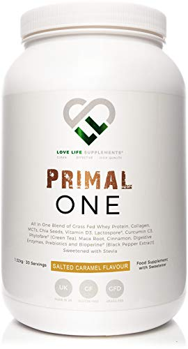 LLS Primal One | Grass Fed Whey Protein Concentrate | Shake with Medium Chain Triglycerides (MCTs) From Coconut | Collagen | Blended with Chia Seeds, Curcumin C3, Probiotic, Green Tea, Maca Root, Vitamin D3, Digestive Enzymes and Inulin Prebiotic | Sweetened Naturally with Stevia (Salted Caramel)