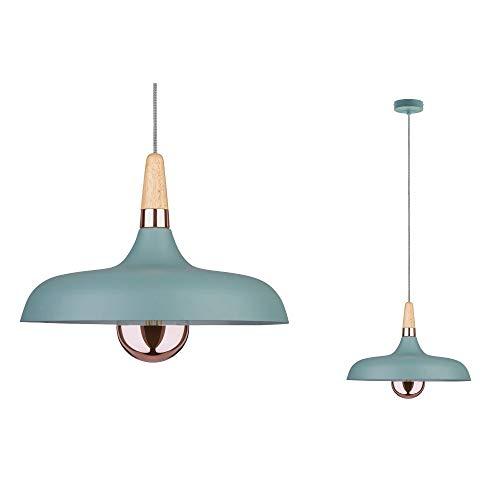 Paulmann 79655 Neordic Juna Pendelleuchte 340mm max. 1x20W Hängelampe für E27 Lampen Deckenlampe Softgrün/Kupfer/Holz 230V ohne Leuchtmittel, Metall