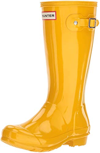 Hunter Kids Original Kids' Gloss Rain Boot (Little Kid/Big Kid) Black 5 Big Kid M