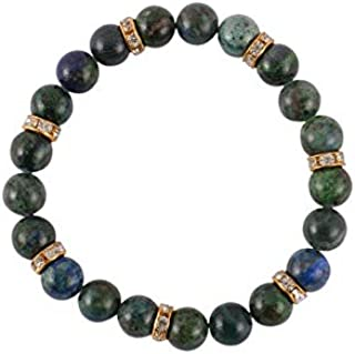 Aatm Gemstone Azurite Beautiful with Connector Beaded Bracelet for Healing and Meditation (Beads Size - 7-8 mm)