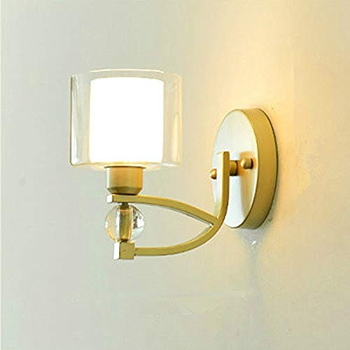 ZTH E27 LED Lámpara de Cristal Lámpara de Noche Lámpara de Cama Lámpara de Pared de Sala de Estar, Color Claro: E (sin Fuente de luz) (Color : Without Light Source)