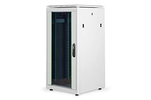 DIGITUS Netzwerk-Schrank 19-Zoll 22HE - 60x60 cm - Unique Serie - Traglast 800 kg - Nutztiefe 543 mm - Grau
