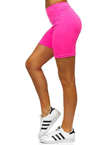 BOLF Damen Yoga-Shorts Sport- Jogging Streifen Strumpf Leggins Strumpf Workout Freizeit High Elastic Yoga n Yoga Pants Therapy 54548 Rosa-Neon M [G7G]