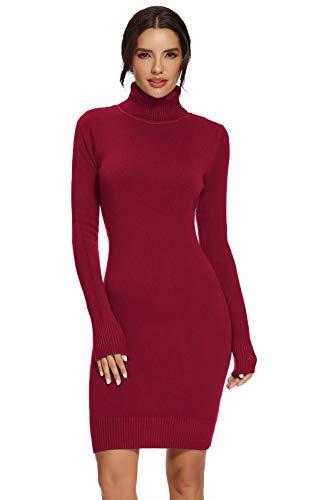 Avacoo Damen Kleider Strick Pulloverkleid Elegant Strickkleid Rollkragen Langarm Tunika Kleid Midikleid Weinrot L 40