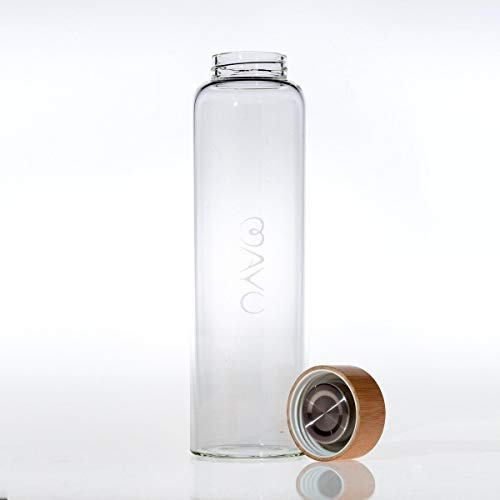 MAYU Travel Water Bottle with Bamboo Lid Eco Friendly & BPA Free Borosilicate Glass Water Bottle - Leak Free Design - for Travel, Everyday Use and Non-Toxic Hydration - 50 oz 1.5 L