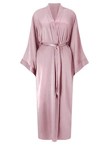SIORO Damen Morgenkleid Seide Kimono Robe Langer Satin Leichter Bademantel für Whirlpool Dusche Travel Hotel Loungewear mit Taschen, One Size Dusty Rose