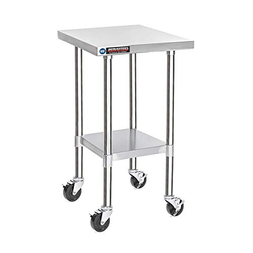 DuraSteel Stainless Steel Work Table 24 x 18 x 34 Height w/ 4 Caster Wheels - Food Prep Commercial Grade Worktable - NSF Certified - Good For Restaurant, Business, Warehouse, Home, Kitchen, Garage
