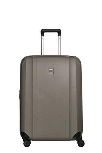 TITAN 4-Rad Koffer mittlere Größe mit Dehnfalte + TSA Schloss, Gepäck Serie XENON: Kratzfeste Hartschalen Trolleys, 849405-40, 67 cm, 76 Liter (erweiterbar auf 87 Liter), champagne (beige)