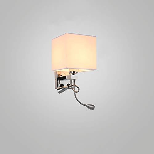 Ganeep Appliques murales LED avec interrupteur à bouton 5W AC110-240V Argent Chambre Liseuse de chevet Direction Direction Réglable Éclairage Intérieur E27 Ampoule (Color : White-B)