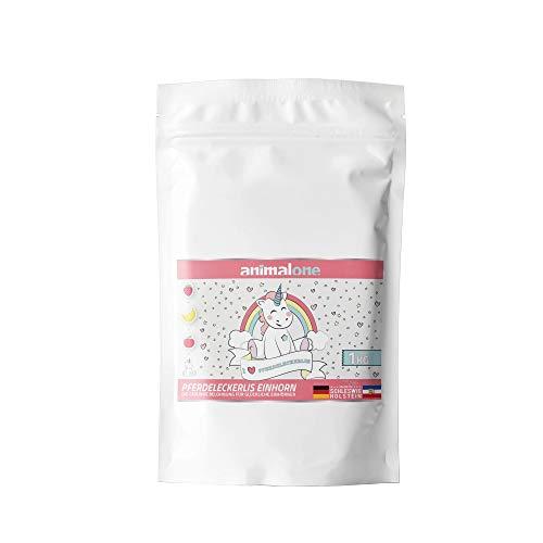 equizone - PFERDELECKERLIS Einhorn-Mix - DAS ORIGINAL - 1 KG Beutel mit Apfel, Banane & Erdbeere - das gesunde Leckerli für Ponys, Pferde und Einhörner