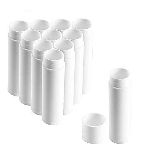 Queta 50 Stück Leer Lippenstift Kunststoff Lippenstifthülsen Leer Lippenbalsam Hülsen DIY Lippen Balm Tubes Container Hausgemachte Lippenbalsams Nachfüllbar mit Kappe 5g (Weiß)