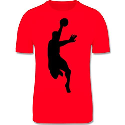 Sport Kind - Handballer im Wurf - 104 (3/4 Jahre) - Rot - Laufshirt - F350K - atmungsaktives Laufshirt/Funktionsshirt für Mädchen und Jungen