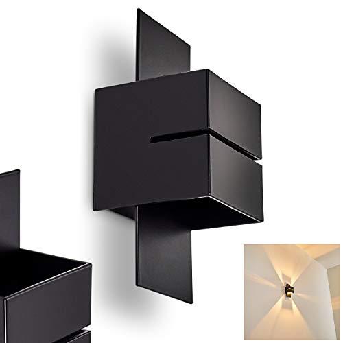 Wandlampe Tora aus Metall in Schwarz mit Schlitz, moderne Wandleuchte mit Lichteffekt, 1 x G9-Fassung, max. 28 Watt, Cube/Innenwandleuchte mit Up & Down-Effekt, geeignet für LED Leuchtmittel