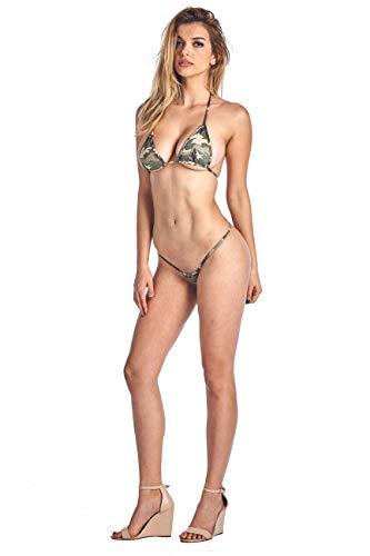 SHORE TRENDZ Women's 2 Piece Camo Micro Bikini Set.CAMO.TOP Small Bottom...