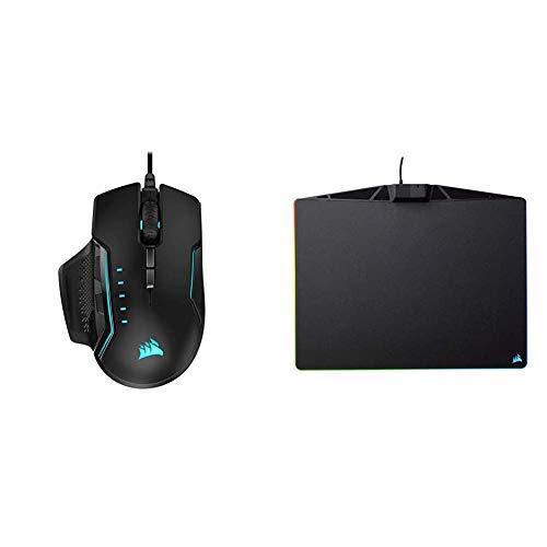 Corsair Glaive PRO RGB Komfortable FPS/MOBA Optisch Gaming Maus (18.000 DPI Optisch Sensor) Aluminium & MM800 Polaris RGB Gaming Mauspad (Medium, RGB 15 Zonen Beleuchtung, Harte Oberfläche) schwarz