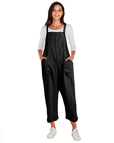 VONDA Latzhose Damen Elegant Klassisch Sommerhose Baumwolle Jumpsuit Lange Overall 1A-Schwarz S