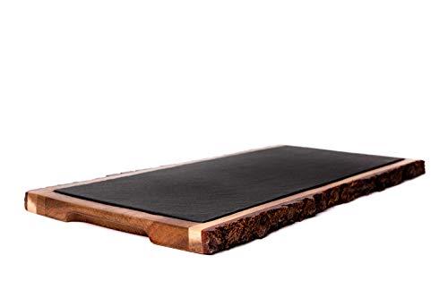 THE CHEF COLLECTION – Plato Borde, Colección Rustic, plato de madera de acacia con pizarra, 37,1x17,0x1,7 cm