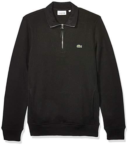 Lacoste Mens Interlock Solid Classic Sweatshirt Sweatshirt, Black, L
