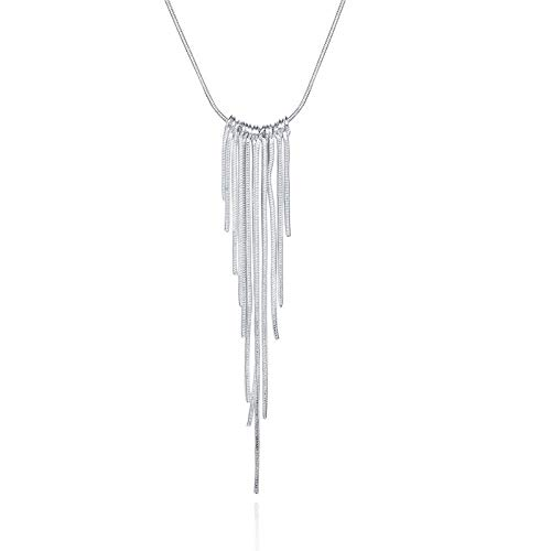 ZWP Silver Necklace Sweater Chain 925 Silver Plated Wicker Necklace